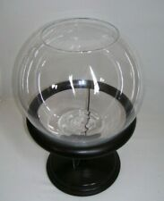 Round Glass Fish Bowls with Wood Decorative Stand Fish Supplies 2 Piece Set