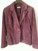 i. e  Womens Size M Suede Leather 1 Button Purple Blazer Jacket