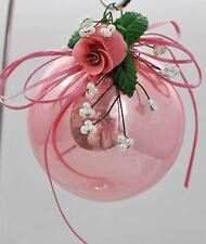 Vintage Victorian Christmas Ornament West Germany - Pink Glass with Rose Pearls