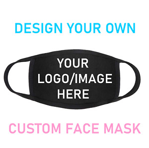 PERSONALISED CUSTOM FACE MASK Your Picture / Logo / Text Reusable Washable Black