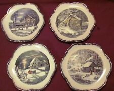 Lot of 4 Currier & Ives Wall Plates with Country Home Scenes, Gold Trimming