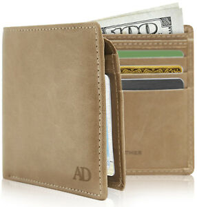 Vegan Faux Leather Bifold Wallets For Men With Flip-Up ID Window RFID Blocking
