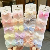 5Pcs For Kids Net Yarn Hairpin Bow Ribbed Cloth Duckbill Clip Hair Accessories