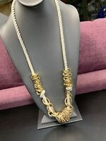 "Vintage Long Sweater Necklace Chain Beaded Gold Tone 32""satin  Twisted Chain"