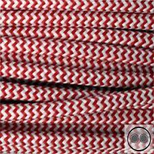 Textilkabel, Stoffkabel, Rot Weis Zick-Zack 2 adrig 2 x 0,75 mm² rund (Meterware