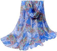 Royal Blue Multi Colour Altai Design Voile Scarf Shawl Pashmina CJ Apparel *NEW*