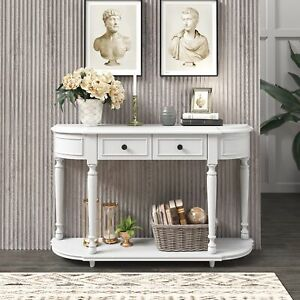 Retro Circular Curved Design Console Table Open Style Shelf Solid Wooden Frame