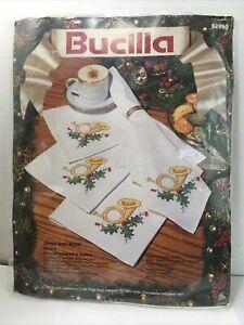 Bucilla 1992 CHRISTMAS MUSIC Stamped Cross Stitch Napkins Kit  8 Holiday Napkins
