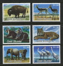 Animals mnh set of 6 stamps 2013 Cook Islands #1453-8 Elephant Whooping Crane