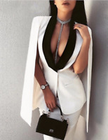 White Sleeveless Low Cut Stretch Fitted Blazer with Cape in Small Medium Large