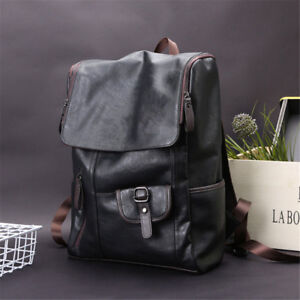 US New Men's Black Leather Backpack Waterproof Laptop Bag Travel School Bag