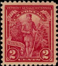 1927 2c Vermont Sesquicentennial, Green Mountain Boy Scott 643 Mint F/VF LH