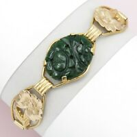 Vtg Art Deco Sterling Silver Flower Carved Nephrite Jade Providence Bracelet