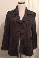 Tweeds Sweater Jacket Cardigan Gunmetal Gray Size Xl