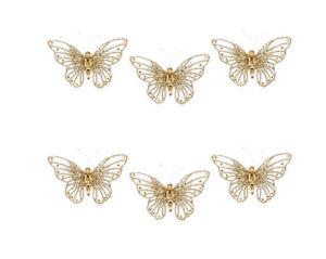 Alison Cork Set Of 6 Gold Glitter & Crystal Butterflies New Christmas Decoration