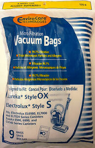 9 Vacuum Bags, EUREKA Style OX, ELECTROLUX Style S Canister Part 135-9