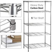 5 Tier Kitchen Wire Rack Chrome Metal Rust Proof Storage Unit Shelving Shelf