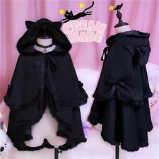 Gothic wind Coat Ragdoll Double Cloak Cat's Ear Cape Mantle GIRLY Burrs Black