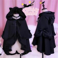 Gothic wind Coat Ragdoll Double Cloak Cat's Ear Cape Mantle GIRLY Burrs Black