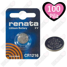 100 BATTERIE A BOTTONE PILE CR1216 3V LITIO RENATA