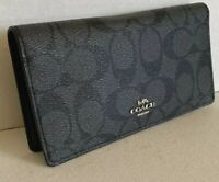 New Coach 88026 Bifold wallet in Signature Coated Canvas Black Smoke / Black