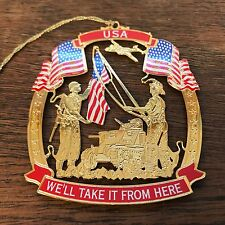 Usa We'll Take It From Here Gold Tone Cut Out Christmas Tree Ornament Hd10