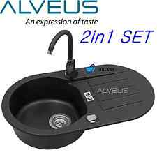 ALVEUS NIAGARA 40 BLACK GRANITE 1.0 BOWL KITCHEN SINK DRAINER WITH TAP & WASTE
