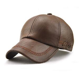 Retro Men Baseball Cap Hats Outdoor Casual Adjustable Sport PU Leather Hat Caps