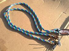 Turquoise/lime/purple rope Western barrel race/contesting reins Weaver US made