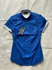 FRED PERRY G7754 REFRESHER BLUE GINGHAM POLO T-SHIRT SIZE 10 UK