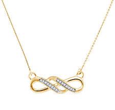 "10k Oro Amarillo Diamante Infinity Collar con Colgante 18"" Largo .05ct 21.5mm"