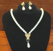 Women's Pearl Necklace w/ Gold Dangle Heart Charm & Matching Earrings Set!