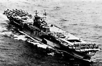 WW2 Picture Photo 1944 USS Enterprise wartime camouflage w F6F and SB2C 2290