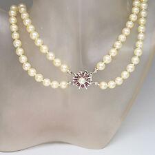 Perlenkette 2-reihig / Zuchtperlen Ø ca. 7,2 mm mit ca. 0,25ct Rubin in 14K Gold