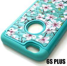 iPhone 6+ / 6S+ Plus - Hybrid Armor Diamond Bling Case Cover Blue Pink Flower