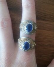 2 Gold and Silver Toned US Navy Chief Petty Officer Blue Stone Rings Size 6 + 7