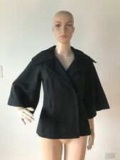 Guess Black Wool Blend Jacket Coat Flared 3/4 Sleeves Off Center Snap Closure XS