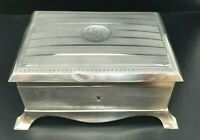 Antique Sterling Silver Large English Footed Jewelry Box