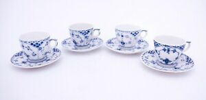4 Cups & Saucers #528 - Blue Fluted Royal Copenhagen - Half Lace - 2:nd Quality