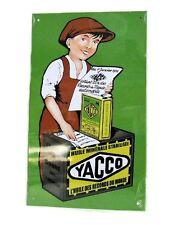 PLAQUE PUBLICITAIRE EN TOLE  ( REPRODUCTION )  * HUILE DES RECORDS YACCO 1935 *
