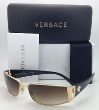 New VERSACE Sunglasses VE 2021 1002/13 60-15 Gold & Black w/ Brown Gradient Lens
