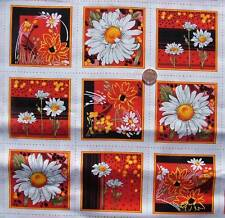Daisy delight Flower Card Squares fabric 30  x 112 cm 33 squares F585-3
