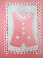 Baby Girl Romper Suit Topper Hand Made for card making -New Baby Pink