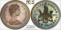 1971 CANADA SILVER $1 DOLLAR PCGS SP68 COLOR TONED COIN IN HIGH GRADE