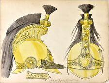 CASQUE D'OFFICIER DU 1er DRAGON 1823 - DESSIN A LA PLUME ET AQUARELLE - FIN XIXe