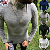 Men's Winter Warm Sweater Slim Fit Knitted High Neck Pullover Jumper Turtleneck