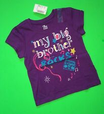"NEW* ""My Big Brother Rocks"" Baby Girls Graphic Little Sister Shirt 3T Gift! SS"