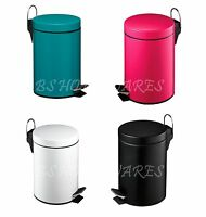STAINLESS STEEL 3LTR PEDAL RUBBISH BIN KITCHEN BATHROOM IN HOT PINK BLACK WHITE
