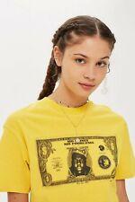 Topshop - Yellow Biggie Dollar T-Shirt Uk 10 Brand New