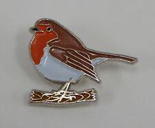 Metal Enamel Pin Badge Brooch Robin Bird Christmas Red Chest